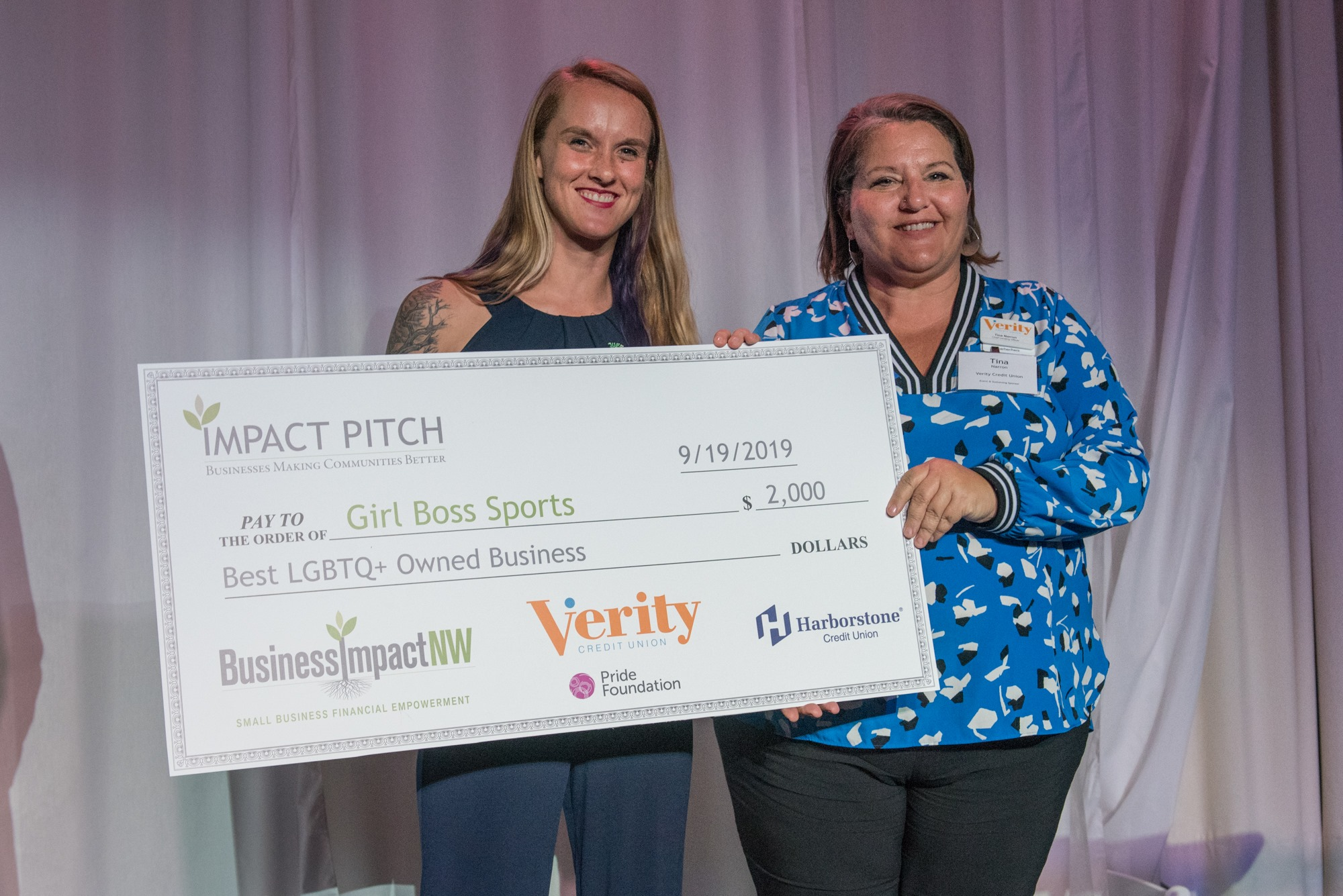"Girl Boss Sports wins ""2019 Best LGBTQ+ Owned Business Award"" through Business Impact NW"